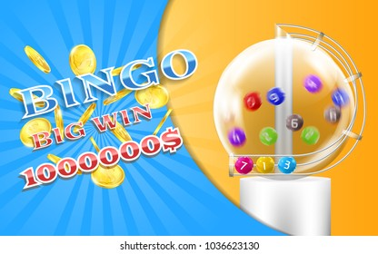 Vector bingo game banner with realistic golden coins, with lottery machine and colorful balls inside it. Lotto, keno, million dollars prize, big win advertising poster. Gambling concept illustration