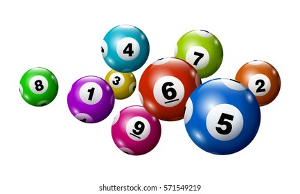Vector Bingo / Lottery Colorful Number Balls Set on White Background