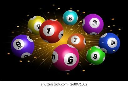 Vector Bingo / Lottery Number Balls Set on Exploding Star Burst Background
