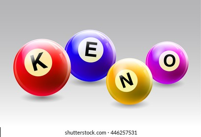 Vector Bingo / Lottery Number Balls Set with text KENO