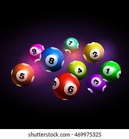 Vector Bingo / Lottery Number Balls Set on Black Background