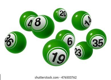 Vector Bingo / Lottery Number Balls Set Green