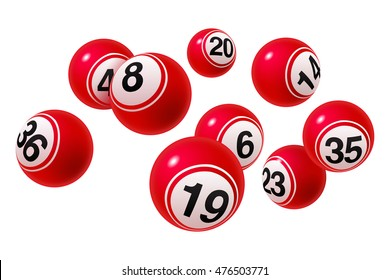 Vector Bingo / Lottery Number Balls Set Red