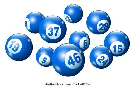 Vector Bingo / Lottery Number Balls Set on White Background-Blue