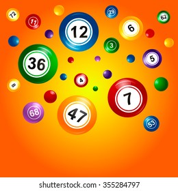 Vector Bingo / Lottery Number crumbles balls set on an orange background.