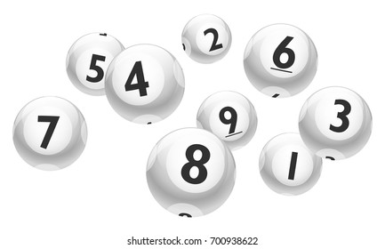 Vector Bingo / Lottery Number White Balls 1 to 9 Set Isolated on White Background