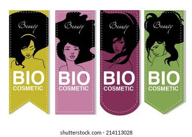 Vector Bio cosmetic label set with beautiful girls
