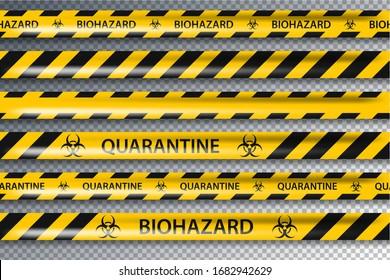 Vector biohazard danger yellow black seamless tape set isolated on transparent background. Safety fencing ribbon. Quarantine flu. Warning danger influenza hazard. Global pandemic coronavirus COVID-19