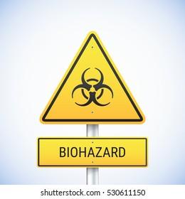 Vector biohazard sign. Road sign with biohazard symbol