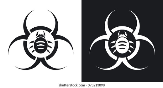 Vector biohazard virus icon. Two-tone version on black and white background