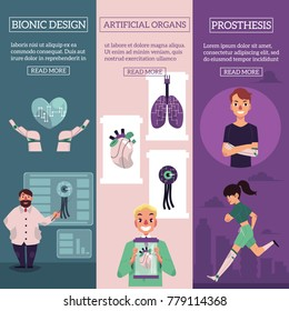 Vector bionic organs in modern medicine conceptual infographic posters with space for text illustration. Modern technologies in prosthetics, making robotic internal organs and bioprinting design.
