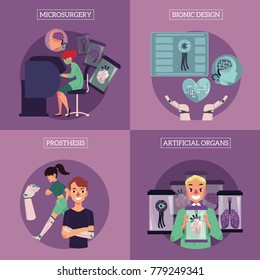 Vector bionic organs in modern medicine conceptual infographic posters with space for text illustration. Modern technologies in prosthetics, robotic internal organs design, engineering, microsurgery.