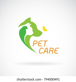 Vector of bird, cat, dog and butterfly on white background. Pet Care. Banners Animal. Easy editable layered vector illustration.