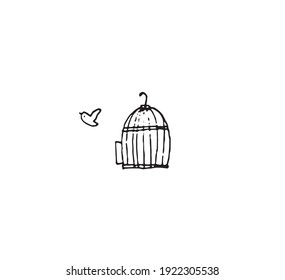 vector of bird escape from cage