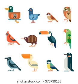 Vector bird icons. Colorful geometric birds: duck, pigeon, sparrow, owl, cardinal bird, kiwi, toucan, parrot, crow, pelican, tit, penguin.