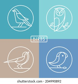 Vector bird icons in outline style - sparrow, owl and pigeon - abstract icons and emblems - logo design templates