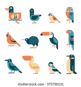 Vector bird illustrations set. Different birds species like: duck, pigeon, sparrow, owl, cardinal bird, kiwi, toucan, parrot, crow, pelican, tit, penguin. Simple geometric form and four colors used.