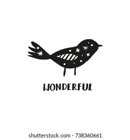"""Vector bird and inscription """"Wonderful"""". Label, poster, postcard, print, illustration and other."""