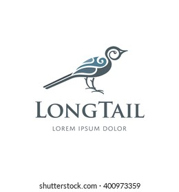 Vector bird logo design template. Long tail sign