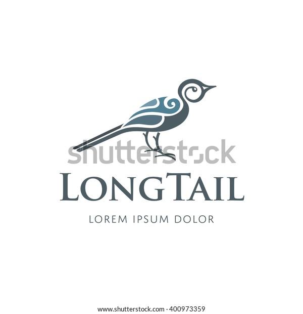 Vector bird logo design template. Long tail sign