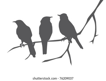 vector bird silhouettes sitting on the branch