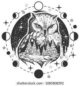 Vector bird tattoo or t-shirt print design. Owl head combined with nature in round frame with moon phases.