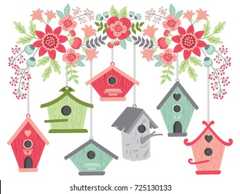 Vector birdhouses hanging from blooming branch. Vector birdhouses and pink bouquets. Birdhouses and floral branch vector illustration