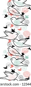 Vector birds silhouettes vertical seamless pattern background ornament with hand drawn elements.
