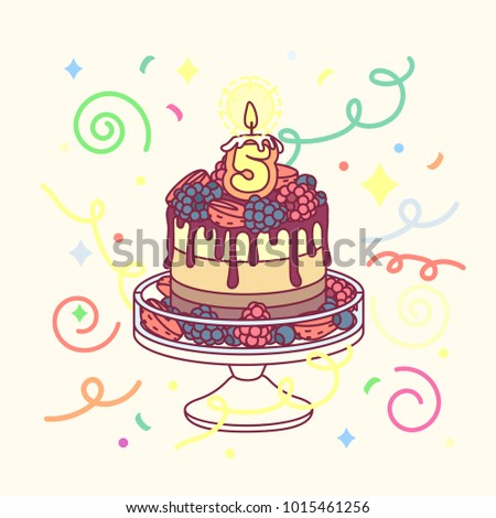 Vector Birthday Cake With 5 Candles And Cakestand Colorful Confetty Decoration Design Festive Cartoon