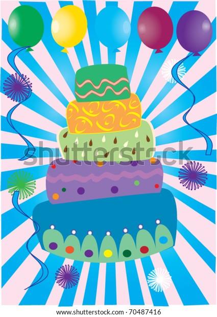 Terrific Vector Birthday Cake Balloons Light Burst Stock Vector Royalty Funny Birthday Cards Online Inifofree Goldxyz