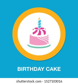 vector birthday cake illustration isolated - celebration icon, sweet dessert with candle