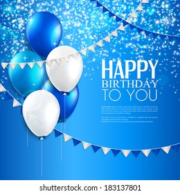 Vector birthday card with balloons, and birthday text.
