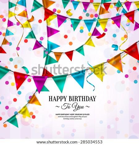 Vector Birthday Card Bunting Flags Ribbons Stock Vector Royalty