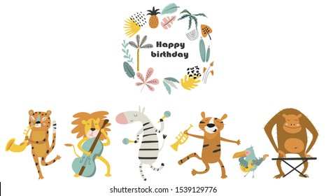 Vector birthday card with cute animals playing music instruments.