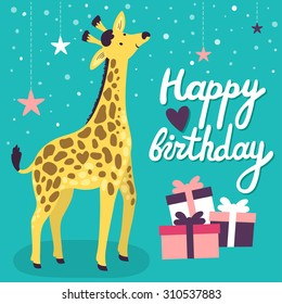 """Vector birthday card with cute smiling giraffe, gift boxes and hand written text """"Happy birthday"""". Childish background with bright cartoon character."""