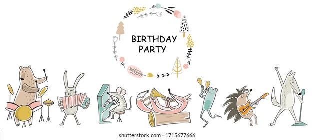 Vektorillustration Geburtstagskarte mit Cute Wood Animals spielen Musikinstrumente. Cartoon-Stil