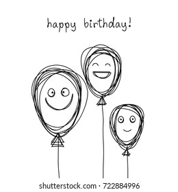 Vector birthday card with doodle balloon and smiling faces. Black and white scribble design template in childish hand drawn style. Festive illustration for print, web.