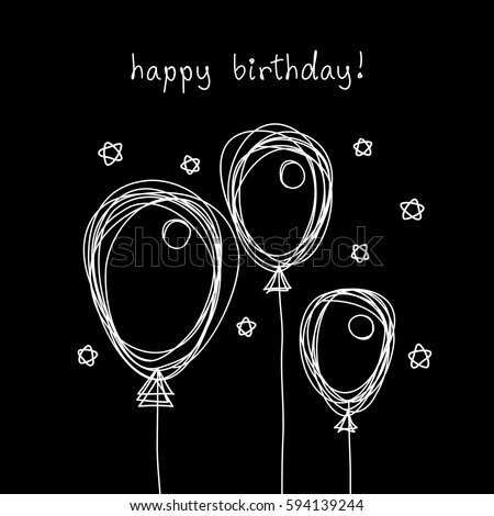 Vector Birthday Card With Doodle Balloon Black And White Scribble Design Template In Childish Hand