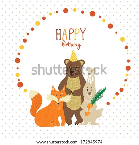Vector Birthday Card With Funny Forest Animals Bear Fox And Rabbit Decor Elements