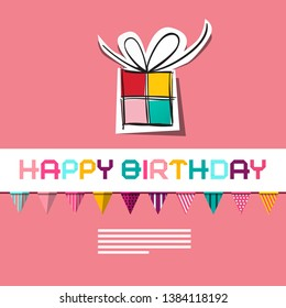 Vector Birthday Card on Pink Background with Paper Gift Box and Flags