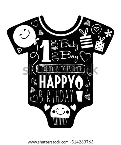 Vector Birthday Card For One Year Old Baby Boy With Clothes Background Full Of
