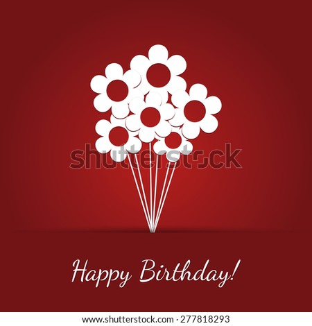 Vector Birthday Card Red Background White Stock Vector Royalty Free