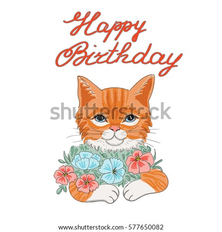 Vector Of Birthday Card With Red Cat And Words Happy