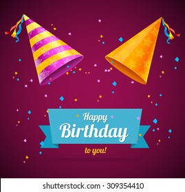 Vector Birthday Card with two party hats and space for text