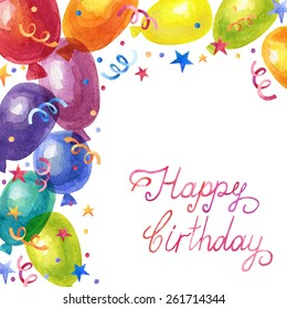 Vector birthday greeting card with watercolor colorful balloons and confetti