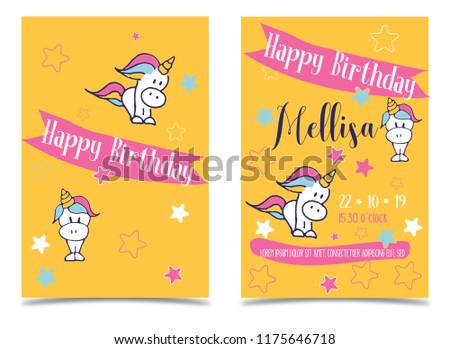vector birthday kids party invitations unicorn stock vector royalty