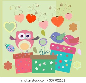 vector birthday party elements with cute owls, birds, hearts and flowers