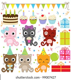 Vector birthday party elements with cute cat.