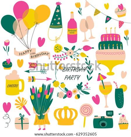 Vector Birthday Set Balloons Cakes Flowers Stock Vektorgrafik