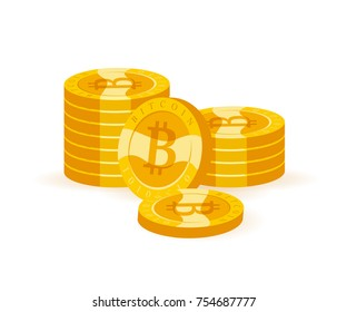 Vector bitcoin collection flat illustration isolated on white background. Cryptocurrency golden symbol. Digital money pile, bit coin emblem, golden coin with bitcoin symbol design.